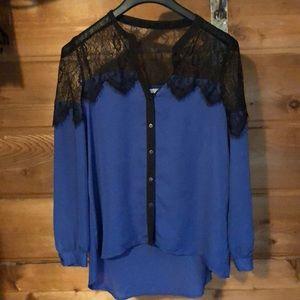 Royal blue see threw blouse